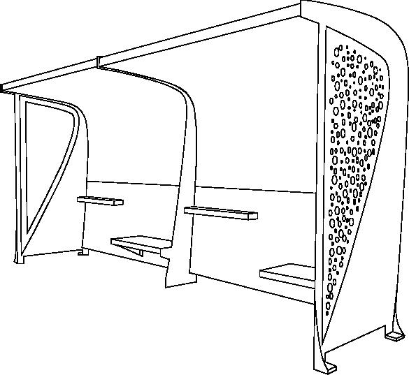 Abri voyageur Signus double en Acier logo contour